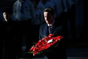 Prime Minister David Cameron laying a wreath at the Cenotaph. (Photo by Matthew Lloyd for Getty Images)