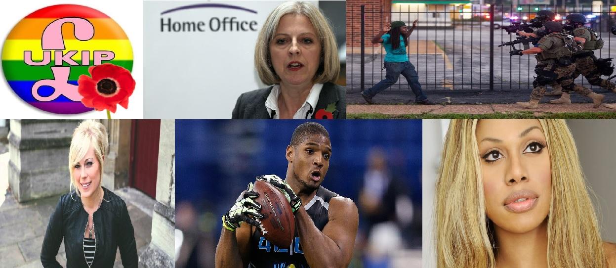 Top row - UKIP in LGBT, Theresa May, Ferguson Police Bottom row - Vicky Beeching, Michael Sam, Laverne Cox