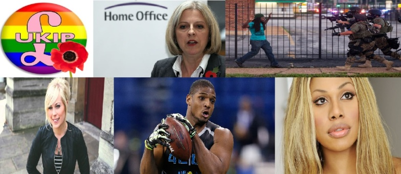 Top row - UKIP in LGBT, Theresa May, Ferguson Police Bottom row - Vicky Beeching, Michael Sam, Laverne Cox